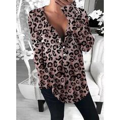 леопард V шеи Длинные рукова Кнопка вверх Повседневная Блузы
