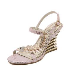 Frauen Kunstleder Keil Absatz Sandalen Keile Beach Wedding Shoes mit Schnalle Nachahmungen von Perlen Strass