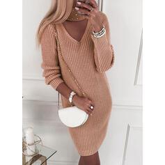 Solid Lange ærmer Shift Knælængde Casual Sweater Kjoler
