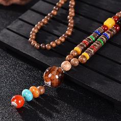 Divatos Egzotikus Sikkes Fa gyöngyök Egynemű nyakláncok