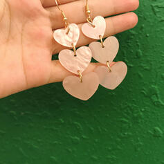 Stylish Heart Shaped Alloy Acrylic Earrings