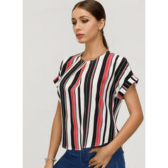Striped Round Neck Short Sleeves Casual Elegant Blouses