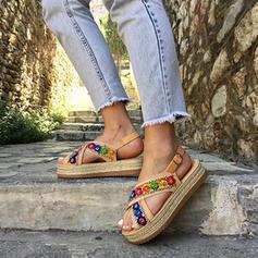 Femmes PU Talon plat Sandales Chaussures plates avec Une fleur chaussures