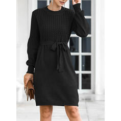 Women's Polyester Plain Cable-knit Chunky knit Sweater Dress