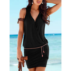 Solid Sleeveless Bodycon Above Knee Little Black/Casual/Vacation Dresses