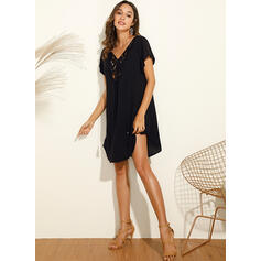 Lace/Solid Short Sleeves Shift Above Knee Casual/Vacation Dresses