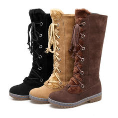 Women's PU Low Heel Mid-Calf Boots Snow Boots With Lace-up shoes