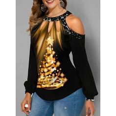 Print Pailletten Cold Shoulder Lange Mouwen Casual Kerstmis Overhemd