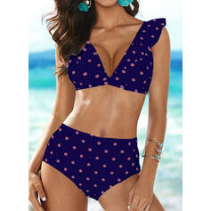 Dot Strap V-Neck Sexy Fresh Bikinis Swimsuits