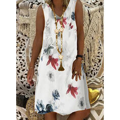 Print/Floral Sleeveless Shift Knee Length Casual/Vacation Tank Dresses