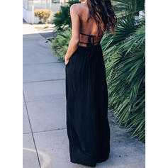Solid Sleeveless A-line Little Black/Sexy/Vacation Maxi Dresses