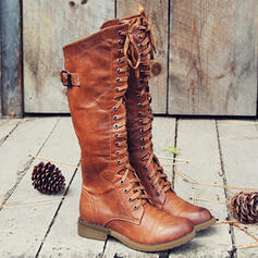 Femmes PU Talon bottier Bottes Martin bottes avec Boucle Dentelle Couleur unie chaussures