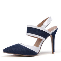 Women's Leatherette Denim Stiletto Heel Sandals Pumps Closed Toe Slingbacks shoes