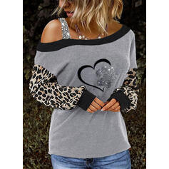 Stampa Paillettes leopardo Una spalla Maniche lunghe Casuale Camicie
