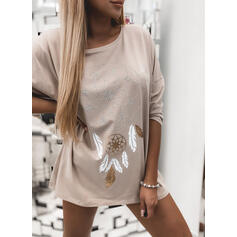 Print Round Neck Long Sleeves T-shirts