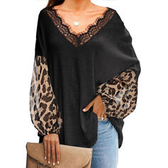 Lace Leopard V-Neck Long Sleeves Casual Knit Blouses