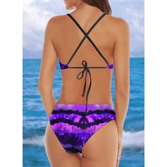 Low Waist Splice color Strap V-Neck Sexy Bikinis Swimsuits