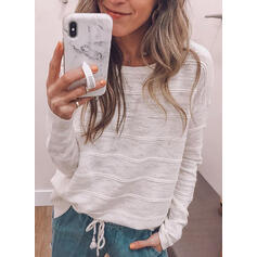 Solid Round Neck Long Sleeves Casual T-shirts