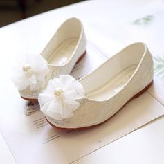 Girl's Round Toe Closed Toe Leatherette Flat Heel Flats Flower Girl Shoes With Flower
