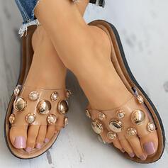 De mujer PVC Tacón plano Sandalias Pantuflas zapatos
