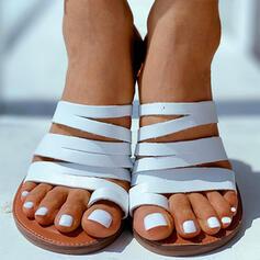 Femmes Cuir verni Talon plat Sandales Chaussons avec Ouvertes chaussures