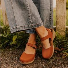 Mulheres PU Salto baixo Calços Toe quadrado com Fivela sapatos