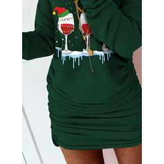 Imprimée Manches Longues Moulante Au-dessus Du Genou Noël/Décontractée Robe Sweat Robes