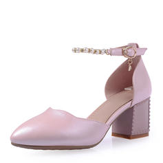 Women's Leatherette Chunky Heel Sandals Pumps Closed Toe Mary Jane With Imitation Pearl Buckle shoes