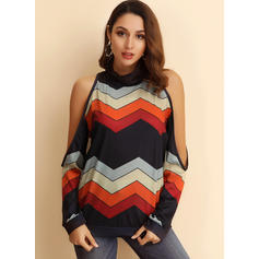 Gestreept Cold Shoulder Casual Overhemd