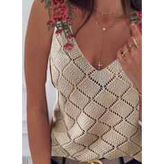 Embroidery V-Neck Sleeveless Tank Tops