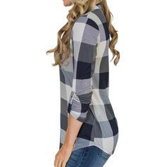 Print V Neck Long Sleeves Casual Shirt Blouses