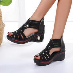 De mujer PU Tipo de tacón Sandalias Plataforma Cuñas Encaje con Agujereado Vendaje zapatos