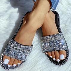 Femmes PVC Talon plat Chaussons avec Strass Pailletes scintillantes chaussures