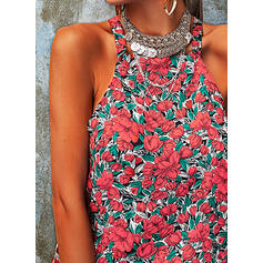 Print Floral Round Neck Sleeveless Sexy Tank Tops