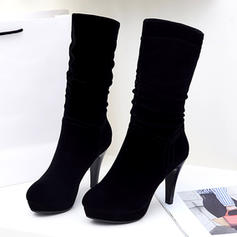 Women's Suede Stiletto Heel Pumps Mid-Calf Boots shoes