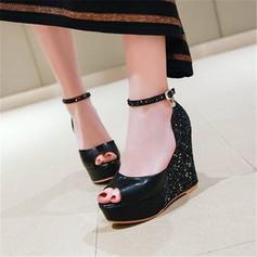 Femmes Similicuir Talon compensé Sandales Escarpins avec Semelle chaussures