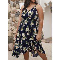 Estampado/Floral Sem mangas Evasê Casual/Férias/Tamanho positivo Midi Vestidos