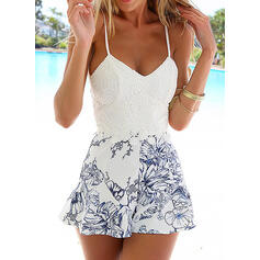 Floral Print Spaghetti Strap Sleeveless Casual Vacation Sexy Romper