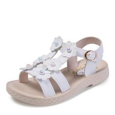 tytön Peep toe tekonahka Flat Heel Sandaalit Matalakorkoiset Flower Girl Kengät jossa Helmikoristelu Solki Kukka