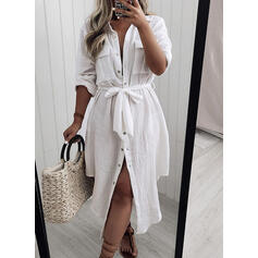 Solid Long Sleeves A-line Shirt/Skater Casual Midi Dresses