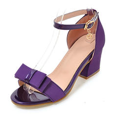 Women's Fabric Chunky Heel Sandals Pumps Peep Toe With Rhinestone Bowknot shoes