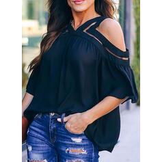 Solid Cold Shoulder 3/4 Sleeves Casual Blouses