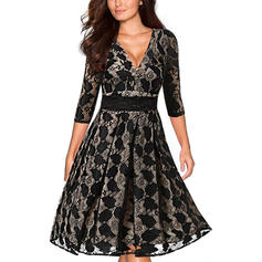 Lace/Solid 1/2 Sleeves A-line Knee Length Casual/Elegant Dresses