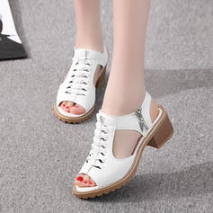 Women's PU Chunky Heel Sandals Peep Toe With Zipper shoes