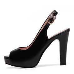 Women's Patent Leather Chunky Heel Sandals Pumps Platform Peep Toe Slingbacks With Rhinestone shoes
