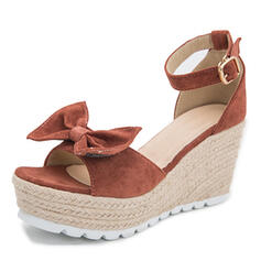 Women's PU Wedge Heel Sandals Wedges With Solid Color Butterfly shoes
