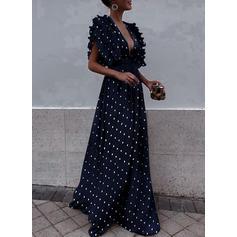 Gepunktet Schlagärmel A-Linien Vintage/Party/Elegant Maxi Kleider