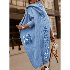Pocket Sequins Hooded Casual Long Cardigan