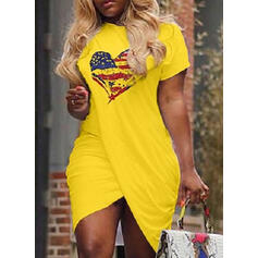 Print/Heart Short Sleeves Bodycon Asymmetrical Casual T-shirt Dresses