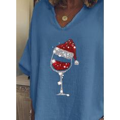 Pailletten V-hals Lange Mouwen Casual Kerstmis Overhemd